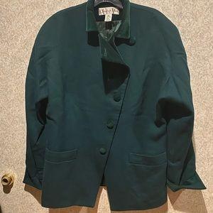 Christian Dior vintage green wool velvet blazer 12